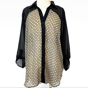NWT Maurices woman's sheer button down blouse